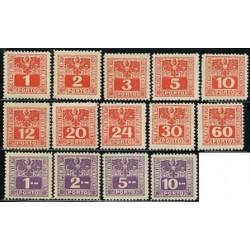 14 عدد تمبر هزینه پستی - سری پستی - اتریش 1945