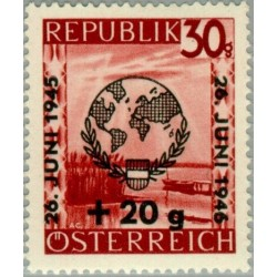 1 عدد تمبر روز جهانی سازمان ملل - سورشارژ - اتریش 1946