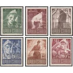 6 عدد تمبر خیریه زندانیان جنگ - اتریش 1947