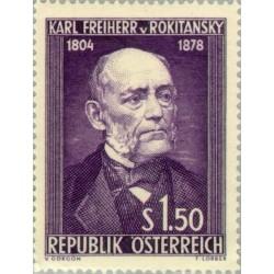 1 عدد تمبر یادبود 50مین سال تولد بارو فون روکیتانسکی - پاتولوژیست - اتریش 1954 قیمت 16.8 دلار