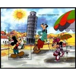 سونیرشیت عجایب جهان - برج کج پیزا - شخصیتهای کارتونی والت دیسنی - بوتان 1991  قیمت 4.5 دلار