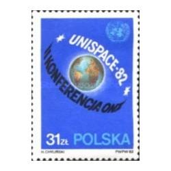1 عدد تمبر کنفرانس فضای مشترک - Unispace - لهستان 1982