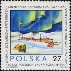 1 عدد تمبر پنجاهمین سال تحقیقات قطب توسط لهستانی ها - لهستان 1982