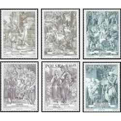 6 عدد تمبر تابلو نقاشی - قهرمانان پن تادئوس - لهستان 2000