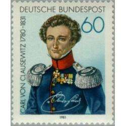 1 عدد تمبر یادبود ژنرال کارل فون کلاوزویتز - جمهوری فدرال آلمان 1981