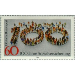 1 عدد تمبر صدسالگی قوانین اجتماعی - جمهوری فدرال آلمان 1981
