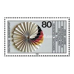1 عدد تمبر دهمین سال عضویت در سازمان ملل - جمهوری فدرال آلمان 1983