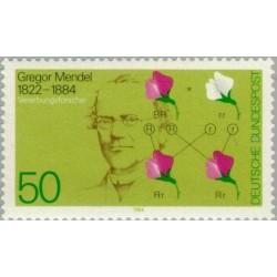 1 عدد تمبر صدمین سال مرگ گرگور مندل - دانشمند - نظریه وراثت - جمهوری فدرال آلمان 1984