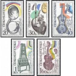 5 عدد تمبر آلات موسیقی   - چک اسلواکی 1974