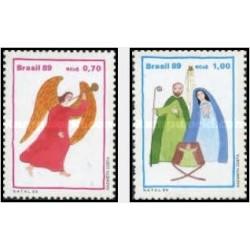2 عدد تمبر کریستمس - برزیل 1989