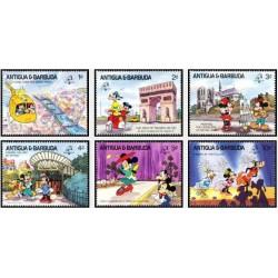 6 رقم از 8 عدد تمبر دیسنی  - نمایشگاه تمبر فلیکس فرانس - آنتیگوا و باربودا 1989