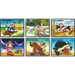 6 رقم از 12 عدد تمبر کابوی دیزنی و سرخپوستان - کاراکترهای والت دیسنی  - گامبیا 1995