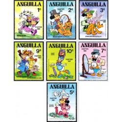 7 رقم از 9 عدد تمبر عید پاک - کاراکترهای والت دیسنی - آنگوئیلا 1981