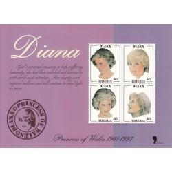 سونیرشیت یادبود فوت دایانا - تمبر اختصاصی  - شیت 4 - لیبریا