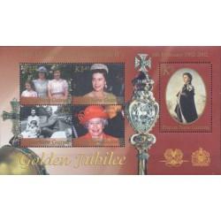 سونیر شیت 50مین سالگرد جلوس ملکه الیزابت دوم بر تخت سلطنت - پاپوا گینه نو 2002 قیمت 8.9 دلار