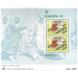 سونیرشیت تمبر مشترک اروپا - Europa Cept - فولکلور  -مادیرا پرتغال 1981