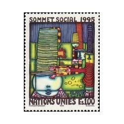 1 عدد تمبر اجلاس اجتماعی - نقاشی اثر هاندرواسر - ژنو سازمان ملل 1995