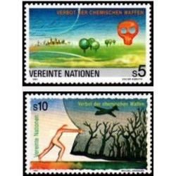 2 عدد تمبر ممنوعیت سلاحهای شیمیائی - وین سازمان ملل 1991