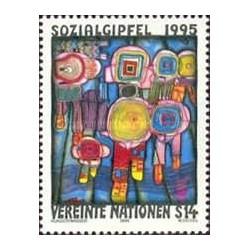 1 عدد تمبر اجلاس اجتماعی - نقاشی اثر هاندرواسر - وین سازمان ملل 1994 قیمت 3.4 دلار