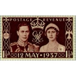 1 عدد تمبر تاجگذاری شاه جرج ششم - انگلیس 1937