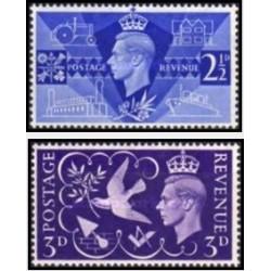 2 عدد تمبر شاه جرج ششم - انگلیس 1946