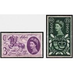 2 عدد تمبر سیصدمین سالگرد قانون تائید تست عمومی اداره پست- انگلیس 1960