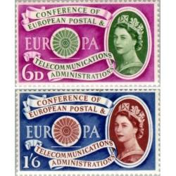 2 عدد تمبر مشترک اروپا - Europa Cept - اولین سالگرد تاسیس Cept- انگلیس 1960 قیمت 6.2 دلار