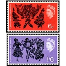 2 عدد تمبر اولین جشنواره هنری کشورهای مشترک المنافع - انگلیس 1965