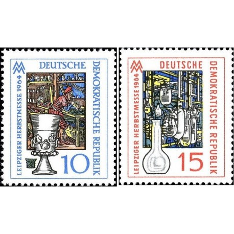 2 عدد تمبر نمایشگاه پائیزه لایپزیک - جمهوری دموکراتیک آلمان 1964