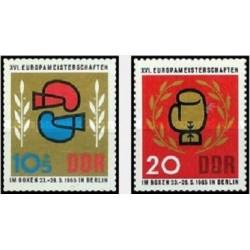 2 عدد تمبر 16مین دوره مسابقات قهرمانی بوکس اروپا - جمهوری دموکراتیک آلمان 1965