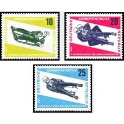 3 عدد تمبر مسابقات جهانی سورتمه سواری  - جمهوری دموکراتیک آلمان 1966