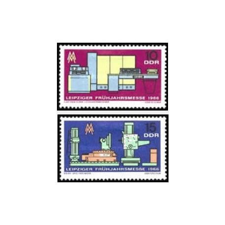 2 عدد تمبر نمایشگاه بهاره لایپزیک  - جمهوری دموکراتیک آلمان 1966