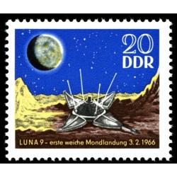 1 عدد تمبر اولین فرود نرم روی ماه - سفینه فضائی لونا 9  - جمهوری دموکراتیک آلمان 1966 قیمت 2.8 دلار