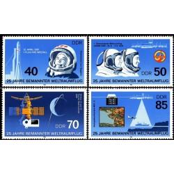 4 عدد تمبر 40مین سالگرد سفر فضا - جمهوری دموکراتیک آلمان 1986