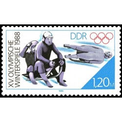 1 عدد تمبر بازیهای المپیک زمستانی کالگاری کانادا -  جمهوری دموکراتیک آلمان 1988 جدا شده از شیت