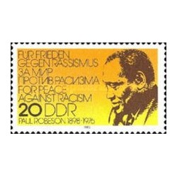 1 عدد تمبر یادبود پائول رابسون -آواز خوان - جمهوری دموکراتیک آلمان 1983