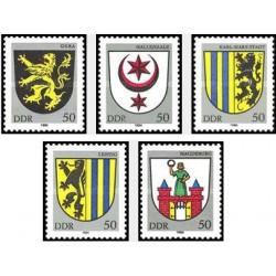 5 عدد تمبر آرم شهرها - جمهوری دموکراتیک آلمان 1984