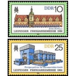 2 عدد تمبر نمایشگاه بهاره لایپزیک - جمهوری دموکراتیک آلمان 1984