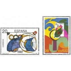 2 عدد تمبر رقابتهای طراحی تمبر جوانان - اسپانیا 1989