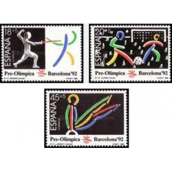 3 عدد تمبر بازیهای المپیک بارسلونا - اسپانیا 1989