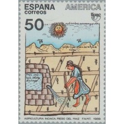1 عدد تمبر هنر بومیان آمریکا - تمبر مشترک - اسپانیا 1989