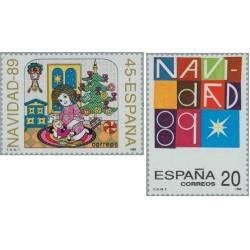2 عدد تمبر کریستمس - اسپانیا 1989
