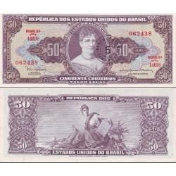 اسکناس 50 کروزرو - سورشارژ - برزیل 1967