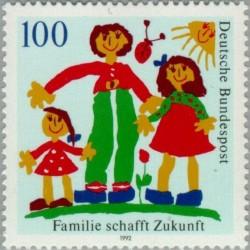 1 عدد تمبر آینده خانواده - نقاشی کودک - جمهوری فدرال آلمان 1992