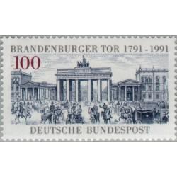 1 عدد تمبر 200 سالگی دروازه برندبورگر - جمهوری فدرال آلمان 1991