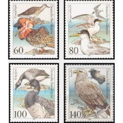 4 عدد تمبر پرندگان - جمهوری فدرال آلمان 1991 قیمت 5.7 دلار