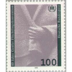 4 عدد تمبر چهلمین سال کنوانسیون پناهندگان در ژنو - جمهوری فدرال آلمان 1991
