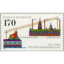 1 عدد تمبر صدمین سال جریان برق متناوب - جمهوری فدرال آلمان 1991