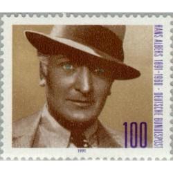 1 عدد تمبر صدمین سال تولد هانس آلبرز - هنرپیشه - جمهوری فدرال آلمان 1991