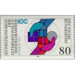 1 عدد تمبر 30مین کنگره جهانی اتاق بازرگانی بین المللی- جمهوری فدرال آلمان 1990